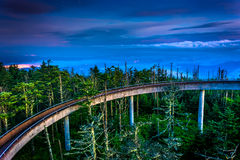 The ramp to the Observation Tower on Clingman's Dome at night, a Royalty Free Stock Photo