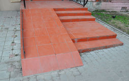 Ramp for wheelchair entry. Brick ramp way for support wheelchair disabled people. Royalty Free Stock Image