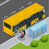 Rampa de acesso para pessoas deficientes e bebês em um ônibus Foto de Stock Royalty Free