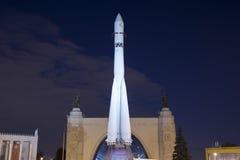 Rampa spaziale sovietica Vostock dello spazio nella mostra di VDNKh a Mosca, Russia Immagini Stock
