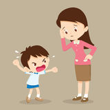 Rampage boy and teacher. Teacher have worry and Rampage angry boy Royalty Free Stock Photography