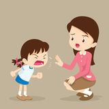 Rampage girl and teacher. Teacher have worry and Rampage angry girl.aggressive children Royalty Free Stock Photography