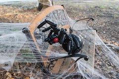 Rampant, noir, décoration de Halloween d'araignée de ballon sur le Web 1 photographie stock libre de droits