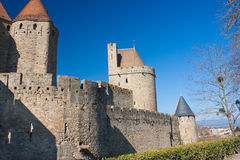 Rampart of Carcassonne. Rampart of the medieval town of Carcassonne in France Stock Images