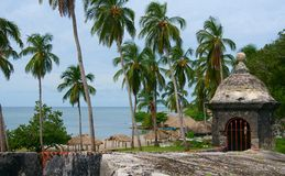 Rampart, Fort San Fernando. A rampart at Fort San Fernando, in Cartagena, Colombia.  The rampart is overlooking a beach Stock Photography