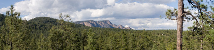 Rampart rising panorama 1. A mighty granite rampart rises out of the mountains and forest of central New Mexico in this true panorama Royalty Free Stock Photo