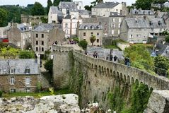 Walk around Dinan ramparts. Ramparts in beautiful old town of Dinan in brittany Stock Image