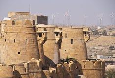 Ramparts de pedra antigos do forte de Jaisalmer Imagens de Stock