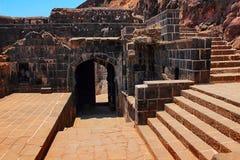 Ramparts, Lohagad fort, Malavali blisko Pune Pune obraz stock