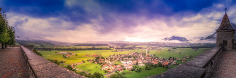 From the Ramparts. The modern town of Gruyeres sits below the castle ramparts royalty free stock images