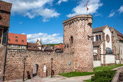 Ramparts in Obernai town center, Alsace wine route, France Stock Images
