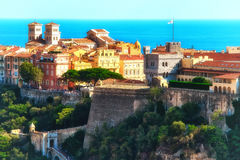 The ramparts, the Palace, and the Cathedral in Monaco Stock Photo