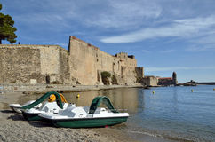 Ramparts and pedalos at Collioure in France Stock Photo