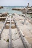 Rampas del barco de pesca, Es Calo, Formentera fotografía de archivo libre de regalías