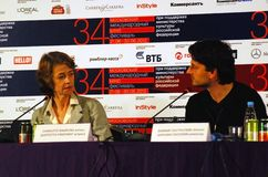 Rampling and Southcombe at press-conference Royalty Free Stock Photo