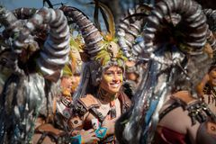 Rams in Carnival. Badajoz, Spain - March 2, 2019: Performers with costumes inspired in ram take part in the Carnival parade of comparsas at Badajoz City, on royalty free stock photography