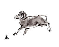 Rams het oosterse inkt schilderen, sumi-e Stock Afbeelding