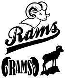 Rams Team Mascot. Collection of mascot graphics for school or sport team Stock Images