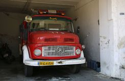RAMSAR, IRAN- SEPTEMBER 25, 2018: Fire engine stands in the garage fire station royalty free stock images