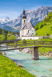 Ramsau, Nationalpark Berchtesgadener土地,巴伐利亚,德国教会  免版税库存照片