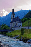 Ramsau church in alpine landscape by blue hour Stock Photos