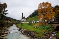 Ramsau. The church of Saint Sebastian in Ramsau, Bavaria, Germany Stock Image