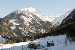 Ramsau mostra le montagne nevose e le foreste verdi Fotografia Stock Libera da Diritti