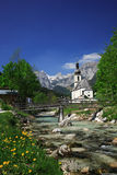 Ramsau Village In The Alps. Ramsau is a German municipality in the Bavarian Alps with a population of around 1,800. It is located in the district of stock image