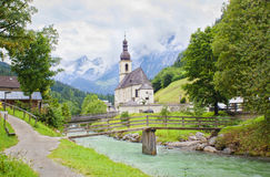 Ramsau village and church in Alps Stock Photo