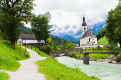 Ramsau village and church in Alps of Bavaria. Germany Royalty Free Stock Images