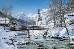 Ramsau in winter, Berchtesgadener Land, Bavaria, Germany. Panoramic view of scenic winter landscape in the Bavarian Alps with famous Parish Church of St Royalty Free Stock Images