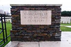 Ramscappelle Drogowy Militarny cmentarz Obraz Stock