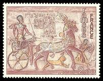 Ramses bij Fresko van de tempel van Abu Simbel stock afbeeldingen