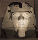 Ramses II head at Luxor Temple at night Royalty Free Stock Images