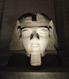 Ramses II head at Luxor Temple at night Royalty Free Stock Photography