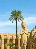 Ramses II statue in Karnak Temple. Enormous stone statue of pharaoh Ramses II in peristile courtyard in the Temple of Amun-Ra at Karnak. Antique Thebes. Luxor royalty free stock image