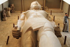 Ramses II. The statue of Ramses II in the Memphis Museum, Egypt stock image