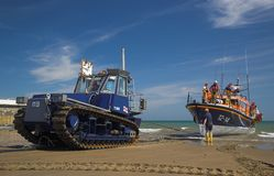 Ramsey Lifeboat. Being recovered from the sea in the Isle of Man Stock Photography