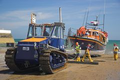 Ramsey Lifeboat. Being recovered from the sea in the Isle of Man Stock Photo