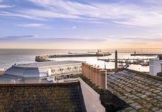 Ramsgate皇家港口和从屋顶看见的维多利亚亭子冠上 库存图片