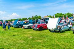 Ramsgate Bucket and Spade Classic Car Rally. RAMSGATE, KENT, UK - JUNE 03, 2018: People enjoy sunny day at the annual Ramsgate Bucket and Spade Classic Car Rally Stock Photography
