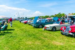 Ramsgate Bucket and Spade Classic Car Rally. RAMSGATE, KENT, UK - JUNE 03, 2018: People enjoy sunny day at the annual Ramsgate Bucket and Spade Classic Car Rally Stock Photo
