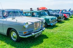 Ramsgate Bucket and Spade Classic Car Rally. RAMSGATE, KENT, UK - JUNE 03, 2018: People enjoy sunny day at the annual Ramsgate Bucket and Spade Classic Car Rally Royalty Free Stock Images