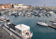 Ramsgate, Kent, UK marina. RAMSGATE, ENGLAND - FEB 21 2018.  The marina of the Royal Harbour of Ramsgate, Kent, Uk. The town has one of the largest marinas on Stock Photo