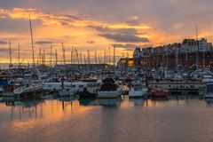Ramsgate Harbour at sunset. Ramsgate Harbour on the Kent coast England at sunset Stock Photo