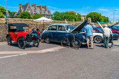 Ramsgate Bucket and Spade Classic Car Rally. RAMSGATE, KENT, UK - JUNE 03, 2018: People enjoy sunny day at the annual Ramsgate Bucket and Spade Classic Car Rally Royalty Free Stock Photos