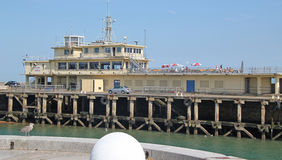 Ramsgate Pier Restaurant. This photo shows the pier restaurant in Ramsgate.  This photo could be used to promote this ship shaped restaurant and highlight the Stock Image