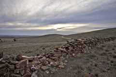 Ramshackle ancient stone fence Royalty Free Stock Photo