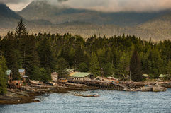 Ramshackle Coastal Buildings Near Ketchikan Stock Images