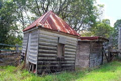 Ramshackle Farm Sheds. Ramshackle old farm sheds in a state of disrepair Stock Image